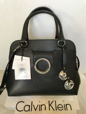 Calvin Klein Black L-Reese Leather Satchel Purse # H7JDR7KQ