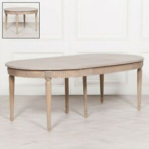 Hand Carved Farmhouse French Rustic Style Extendable Wooden Oval Dining Table