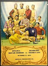1953 CFL Football Program Hamilton Tiger-Cats vs Ottawa Rough Riders Vintage