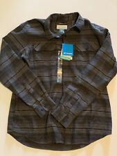 New Columbia Men's Size M Flare Gun Flannel III Long Sleeve Shirt Black Gray NWT