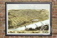 Vintage Omaha, NE Map 1868 - Historic Nebraska Art - Old Victorian Industrial