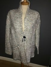 NWT IVORY WITH BLUE & MINK WOOL BLEND COCOON JACKET BY MONA LISA SZ 28 RRP £199