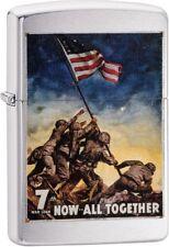 Zippo Vintage War Poster Bond Now All Together Lighter Brushed Chrome 29596 NEW