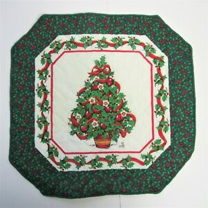 Pair of Christmas Tree and Holly Fabric Placemats, Green Red White