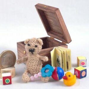 Miniatures Dollhouse, Amigurumi bear, mini toys in wooden box, accessories