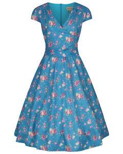 Lindy Bop 'Dawn' Turquoise Rose Print Vintage 1950s Swing Dress BNWT Size 22