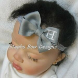 Gray Monogram Dainty Hair Bow Headband Personalized 4 Preemie 2 Toddler Grey