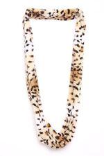 Super Soft Black White Brown & Cream Tiger Print Infinity Shape Girly Scarf S160