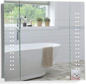 Bathroom Mirror Cabinet with Illuminated LED Lights Shaver Socket Sensor Switch