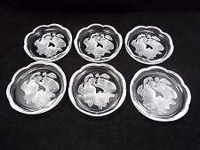 Val St. Lambert Set of 6 Crystal Coasters - Grapes Fruit Theme, Scalloped Edges