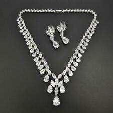 Shiny Silver Marquise & Pear Cluster CZ Necklace Earrings Bridal Engagement Set