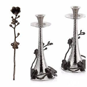3 Piece Set Michael Aram Black Orchid Candleholders Candle Sticks & Snuffer