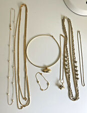 Jewelry Lot Gold Tone Metal Monet Napier Basket Chains Pearl Choker Necklace NAN