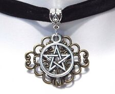 BLACK VELVET SILVER PENTAGRAM CHOKER bronze gothic wiccan witch necklace O4