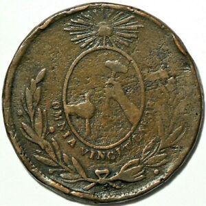 1856 Mexico 1/4 Real Guanajuato Cuartilla Copper KM#352 #12475