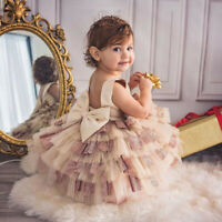 Toddler Kid Baby Girl Prom Drss Bowknot Party Pageant Tutu Tulle Princess Dress