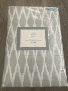 M&S Home 100% Cotton Jacquard Grey Bedset New Grey Double