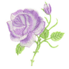 Rose Flower Iron-on Embroidered Patch Applique Motif Garment Decoration Craft SI Purple