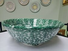 Roma Inc Green Pasta Bowl Ceramic Hand Painted Splatter Pattern, Made In Italy