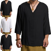 100%Cotton Men's 3/4 Sleeve Causal Loose Tops V Neck Blouse Yoga Tee T Shirt UK
