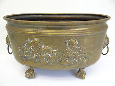 Antique Old Eagle Claw Foot Brass Metal Tavern Scene European Decorative Bucket