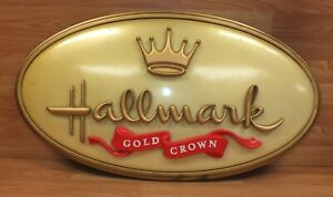"Large 30"" Inch Wide Vintage Style Plastic Hallmark Gold Crown Store Display Sign"