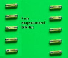 5 amp EUROPEAN CONTINENTAL BULLET YELLOW FUSES QTY 10  TAXI CAR HGV VAN TRUCK