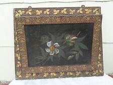 Victorian Gold Gesso Wall Pocket with Floral Tin Decorations: C.late 1800's