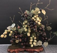 Chinese Jade and Hard Stone Grape Cluster, Chinese Chippendale, Mid Cent Modern