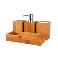 Bamboo Bathroom Accessory Set,Soap dispenser,Square Cup,Toothbrush holder