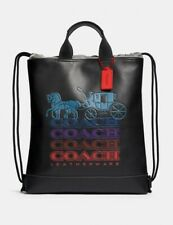 Rare Coach Terrain Logo Leather Drawstring Backpack W/Ombre Horse & Carriage