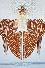 Erte 1987 RADIANCE MANNIQUIN in GOLDEN ROBE DRESS SUN RAYS Art Deco Matted Print