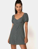 MOTEL ROCKS Montero Mini Dress in Check it Out Green Extra Small XS  (mr43)