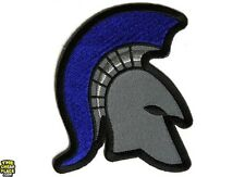 Spartan Helmet Blue Mohawk Police Iron On Patch - 3 x 3.5 inch Free Ship P5284