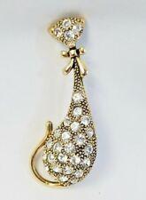 Vtg Siamese Cat Brooch Pin Gold tone Rhinestones unsigned