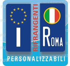 2 ADESIVI TARGA MOTO EUROPEA, RIFRANGENTI CON STEMMA ITALIA E PROVINCIA, TUNING