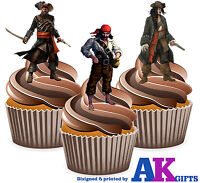 PRECUT Pirate Blackbeard 12 Edible Cupcake Toppers Cake Decorations Birthday