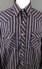 WRANGLER MEN'S WESTERN SHIRT Size 2XL 17-35 Pearl Snaps VTG Striped Cowboy Ranch