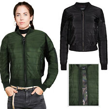 Brave Soul Designer Womens Alex Bomber Jacket New Ladies Padded MA1 Biker Coat