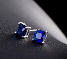 7mm Men Women Sterling Silver Stud Square Cubic Zirconia Earrings Gift Box PE23
