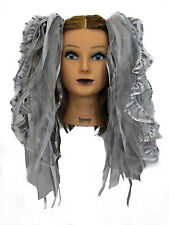 Dreadful Falls Grey Ribbon Gothic Fairy Hair Falls Extensions Belly Dance
