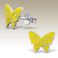 925 Sterling Silver Butterfly Stud Earrings Girls Kids Yellow & Silver Markings