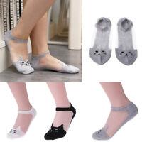 Kids Cute Cat Mesh Socks Women Teenage Girls Summer Animal Ankle Socks