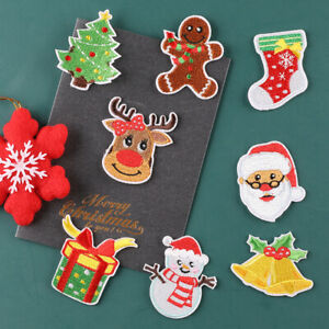 8PCS Christmas Patch Iron on Patches Applique Embroidered Sewing Supply Badge