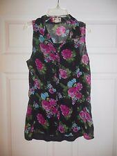 MUDD BLOUSE SHIRT Women's Juniors Black Floral sz Medium button front Sleeveless