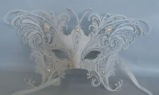 Venetian White Butterfly Masquerade Party Mask With Metal Decoration - NEW -