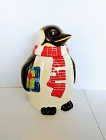 Penguin Christmas Holiday Hand Painted For Nonni's  Ceramic Cookie Jar 12 inch