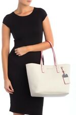 Marc Jacobs Luggage Tag Shoulder Tote Bag in Saffiano Leather White Pink (Neon)