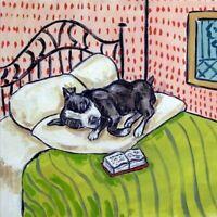 boston terrier sleeping dog art tile coaster gift bedroom art