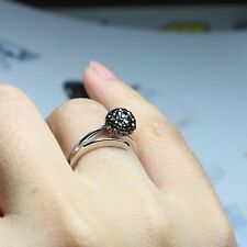 Handmade Swarovski Jet Hema Crystal Point Ball Ring O'tique Glue Art #P116